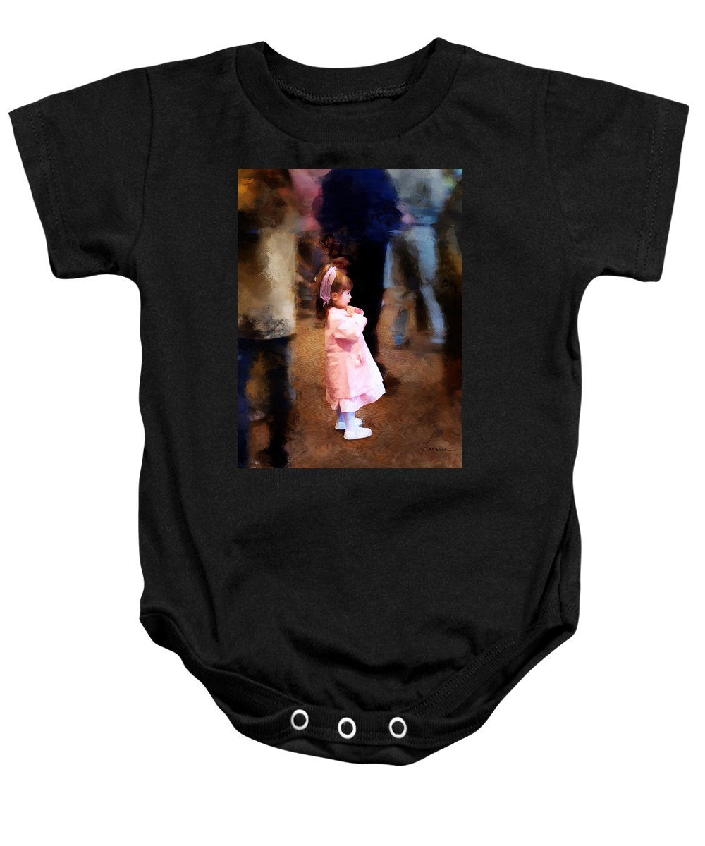 Girl Baby Onesie featuring the digital art All Alone In A Crowd by Francesa Miller