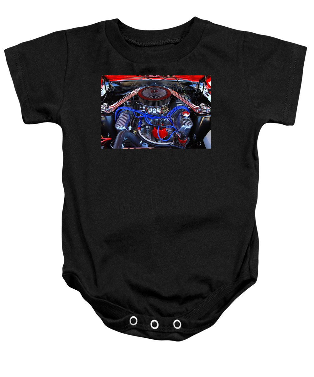 Engine Car Power Fast Classic Old Horse Power Red Blue Summer Beach Baby Onesie featuring the photograph All Power by Robert Pearson