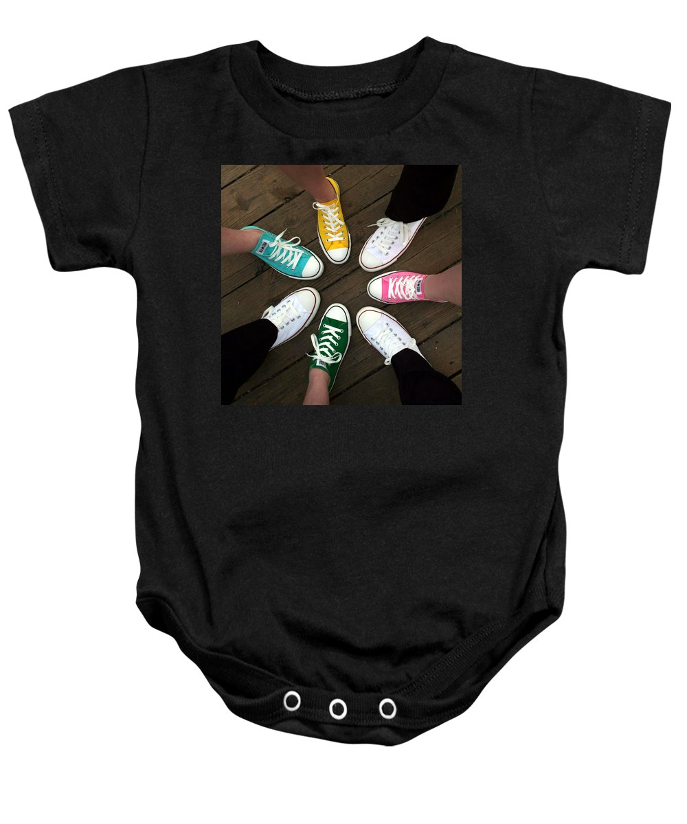 Sneakers Baby Onesie featuring the photograph All Stars Ready For The Prom by Rebecca Smith