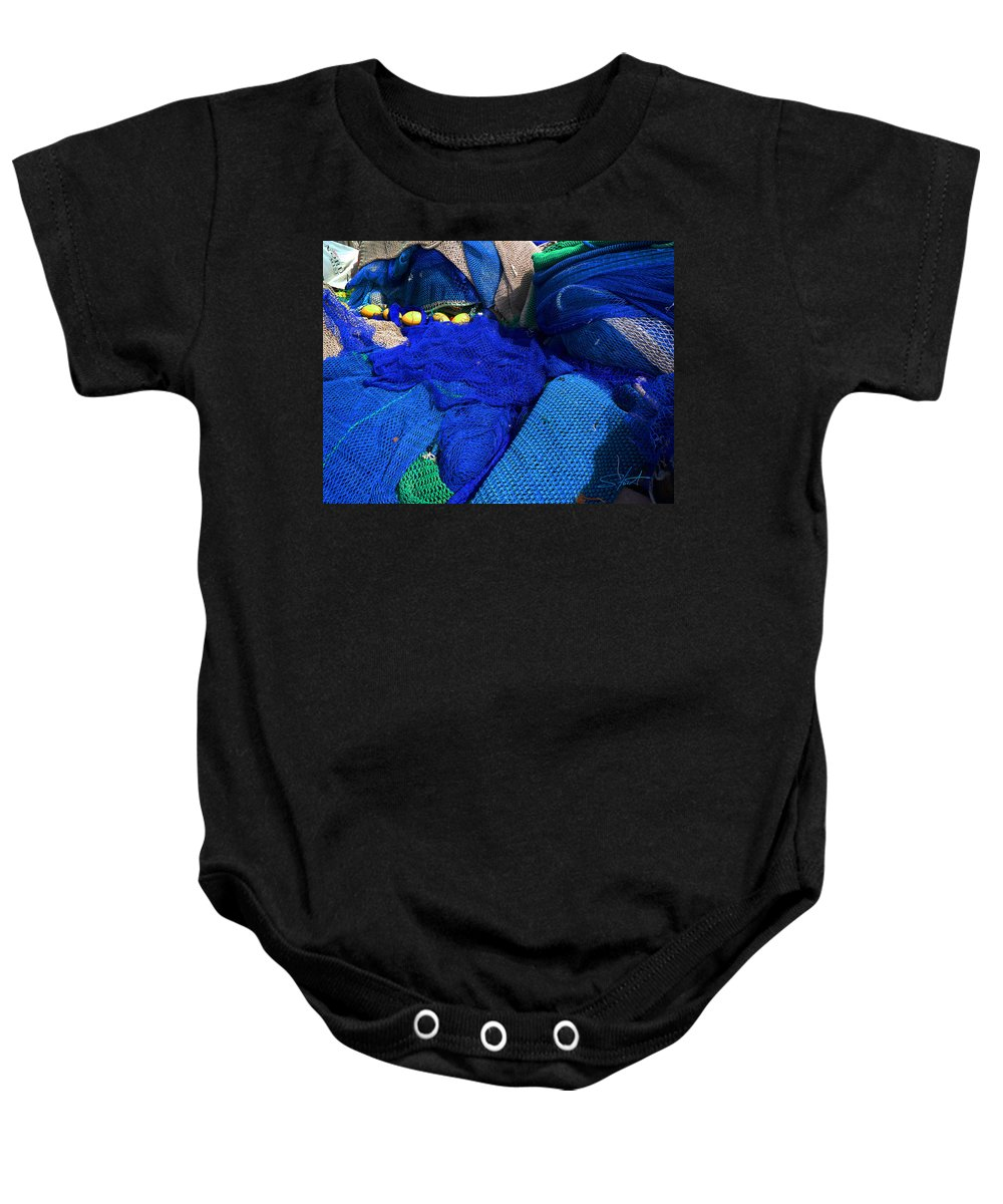 Fishing Net Baby Onesie featuring the photograph All The Blue Of The Sea by Charles Stuart