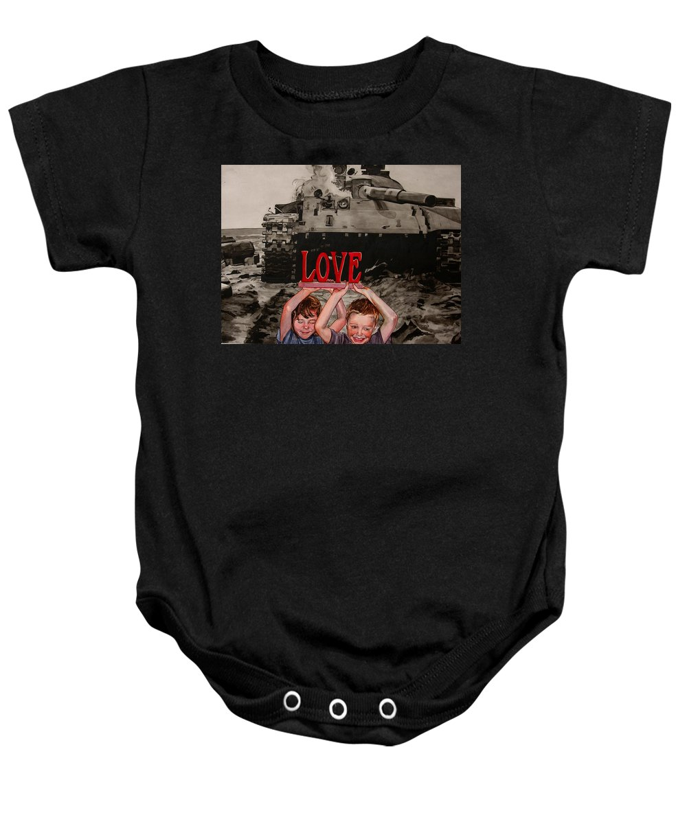 Political Baby Onesie featuring the painting All You Need Is... by Valerie Patterson