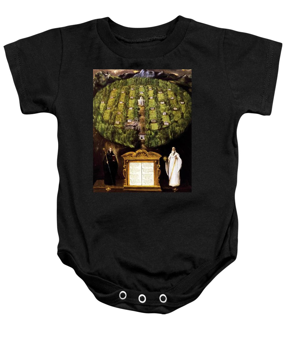 Allegory Baby Onesie featuring the painting Allegory Of Camaldolese Order 1600 by El Greco