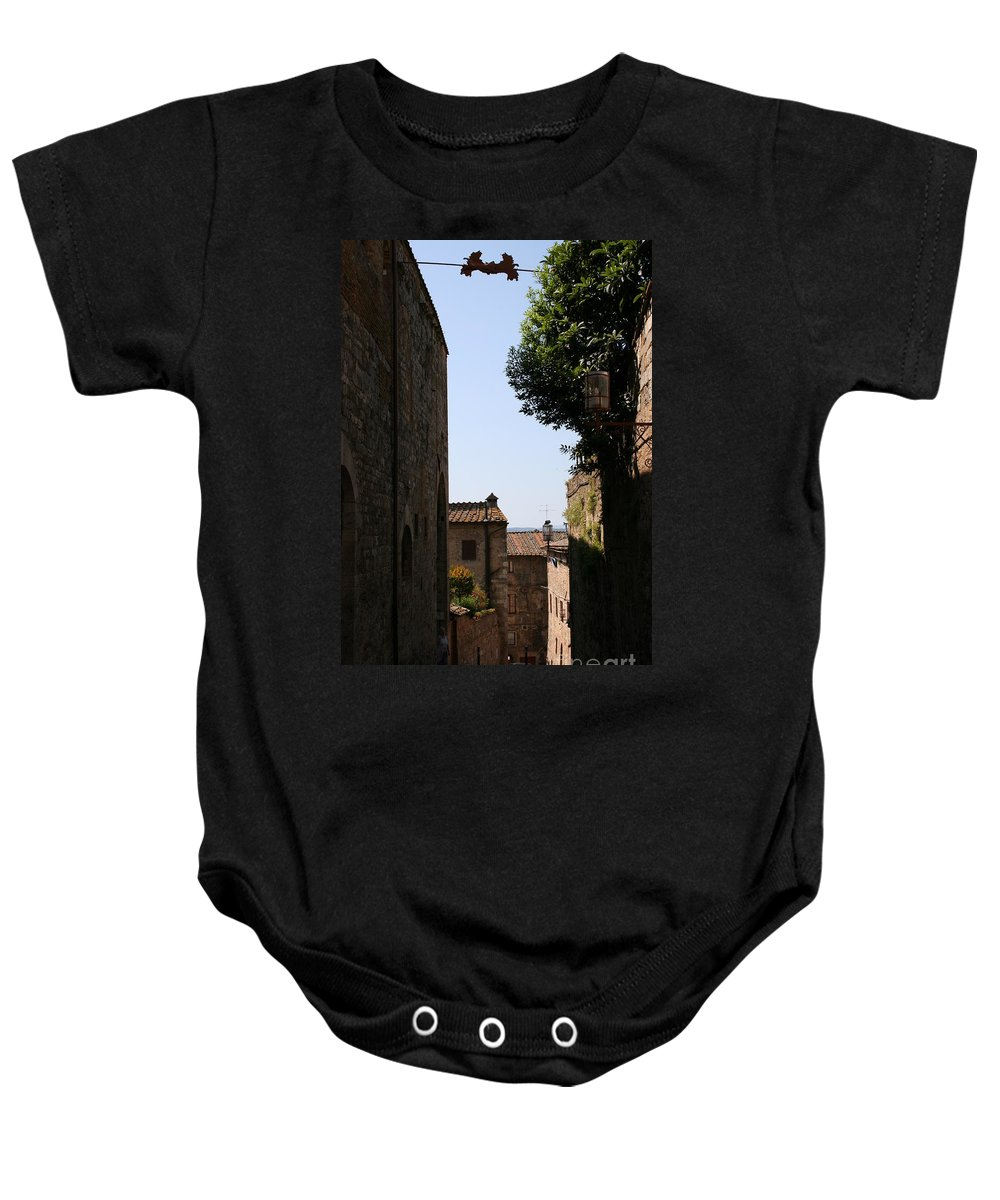 Alleyway Baby Onesie featuring the photograph Alleyway In San Gimignano by Christiane Schulze Art And Photography
