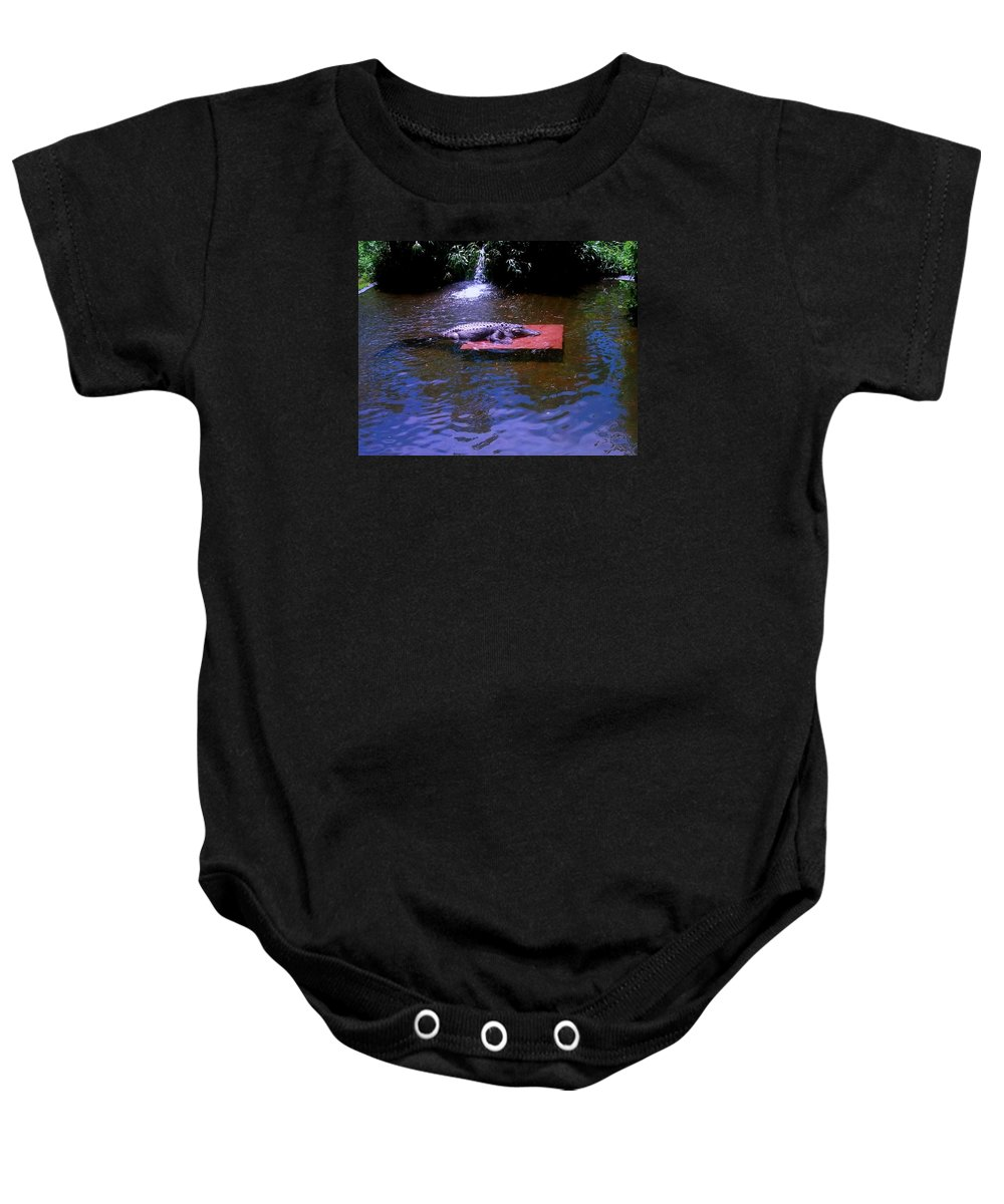 Nature Baby Onesie featuring the photograph Alligator Resting by Michelle Caraballo
