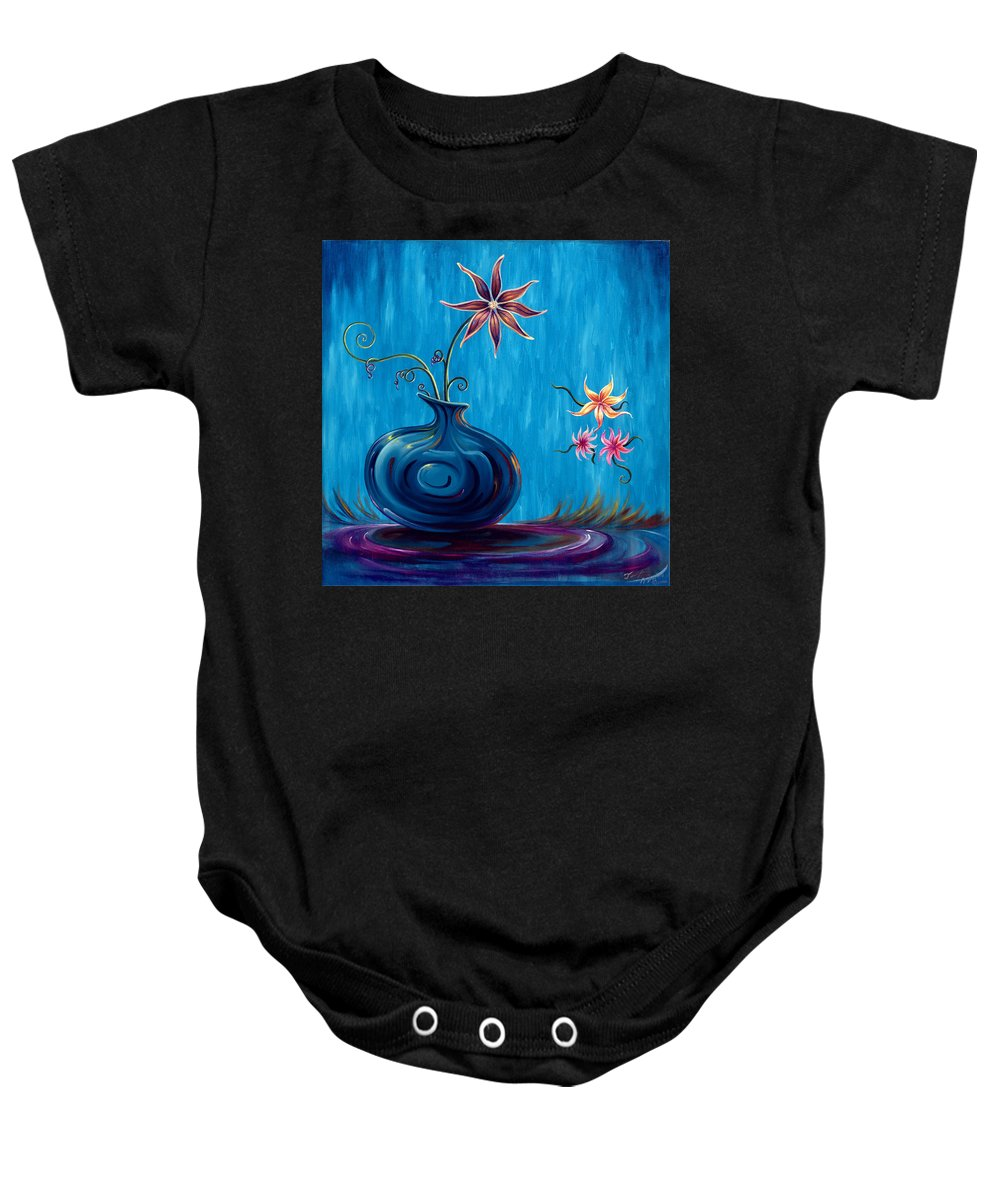 Fantasy Floral Scape Baby Onesie featuring the painting Aloha Rain by Jennifer McDuffie