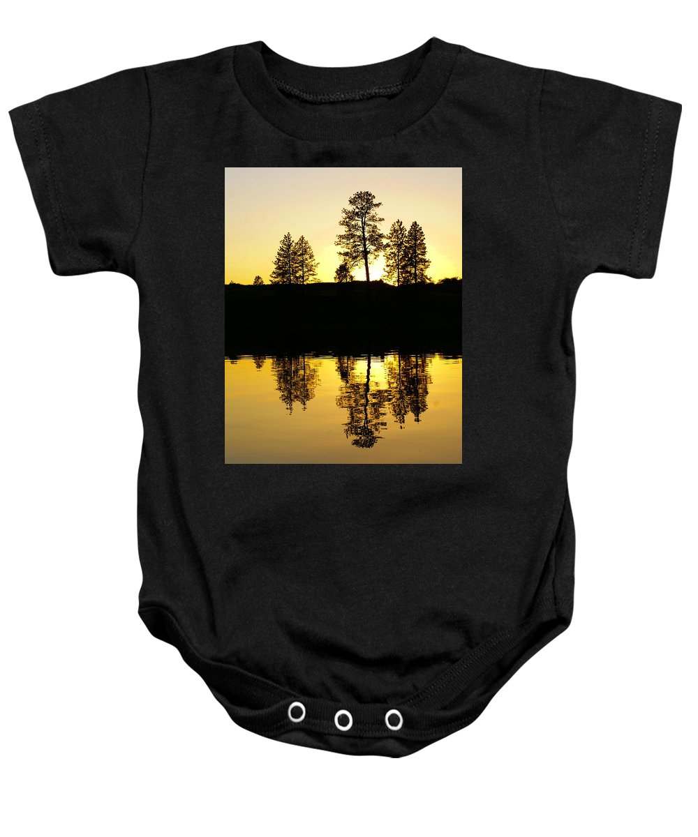 Nature Baby Onesie featuring the photograph Amber Sunset by Ben Upham III