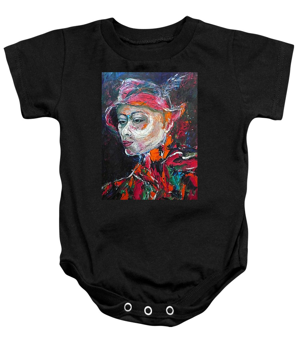Portrait Baby Onesie featuring the painting Ambiguity by Ericka Herazo
