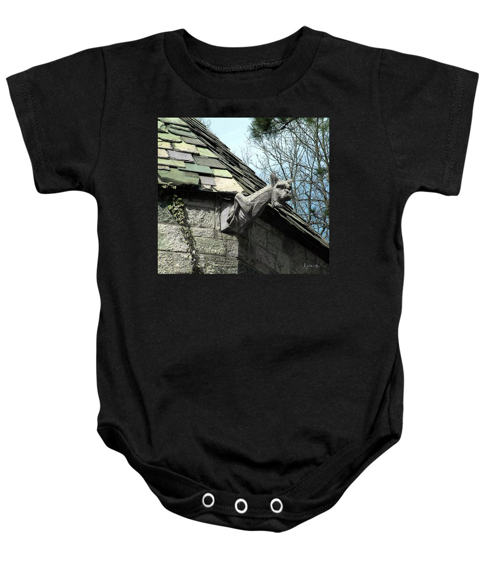 Architecture Baby Onesie featuring the photograph American Gargoyle by RC DeWinter