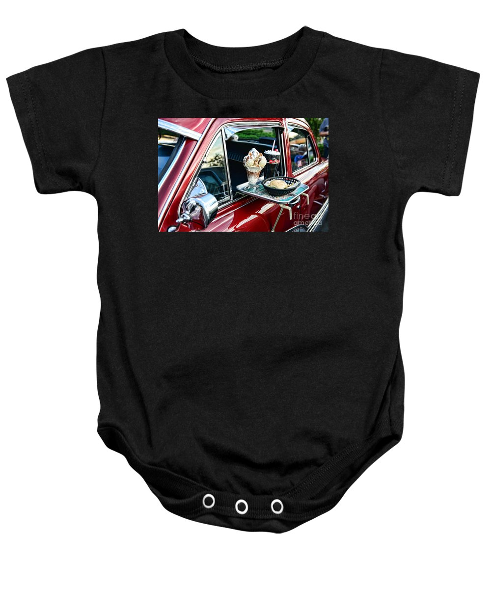 Americana Baby Onesie featuring the photograph Americana - The Car Hop by Paul Ward