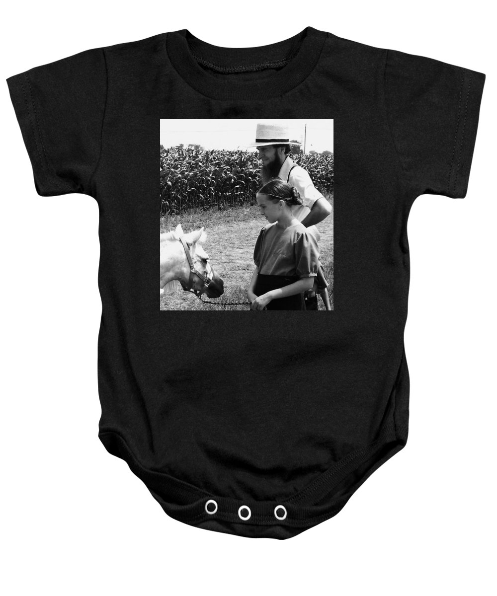 Amish Baby Onesie featuring the photograph Amish Girl And Pony by Eric Schiabor