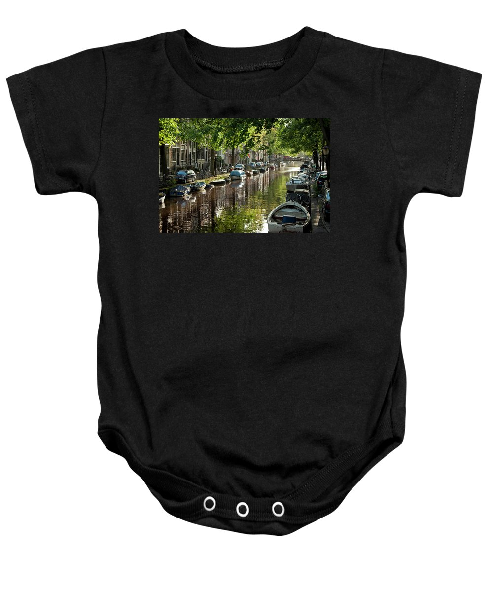 Age Baby Onesie featuring the photograph Amsterdam Canal by Joan Carroll