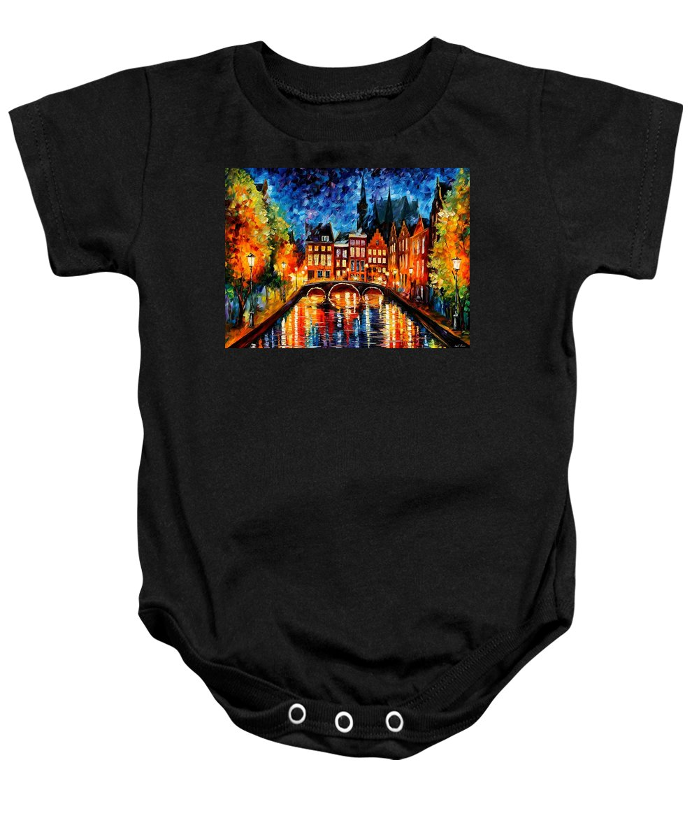 Afremov Baby Onesie featuring the painting Amsterdam Canal by Leonid Afremov