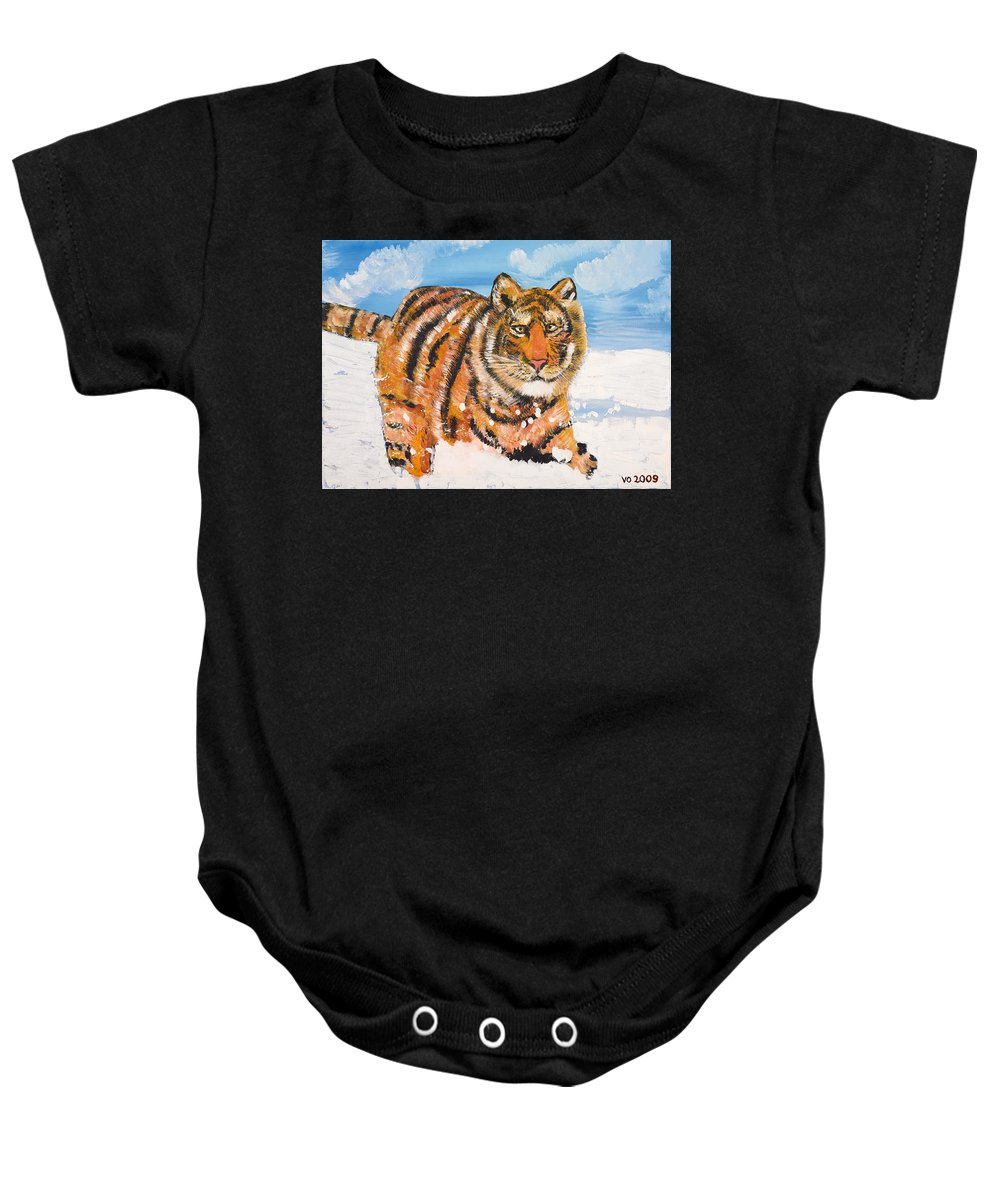 Cat Baby Onesie featuring the painting Amur Tiger by Valerie Ornstein