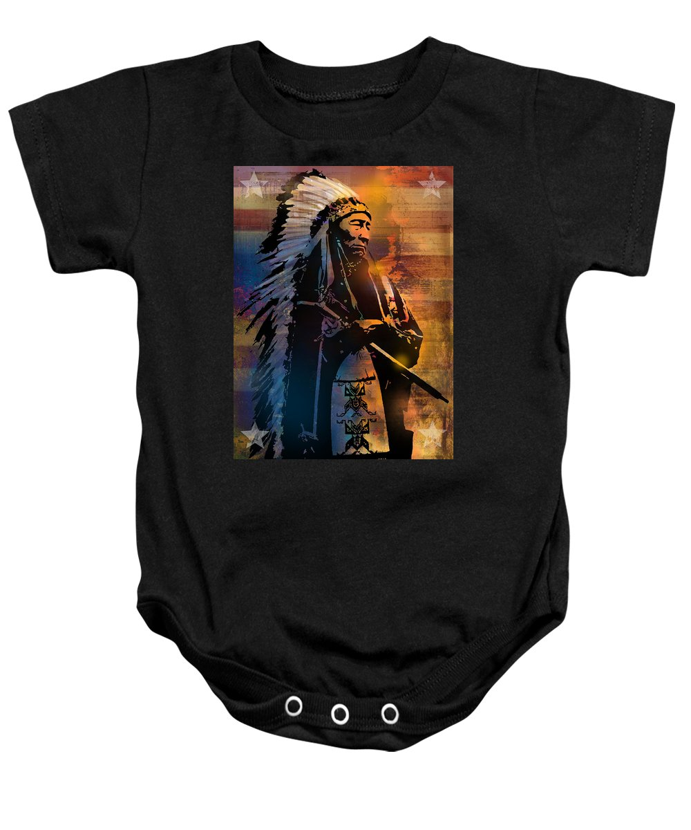 Native Americans Baby Onesie featuring the painting An American Sunrise by Paul Sachtleben