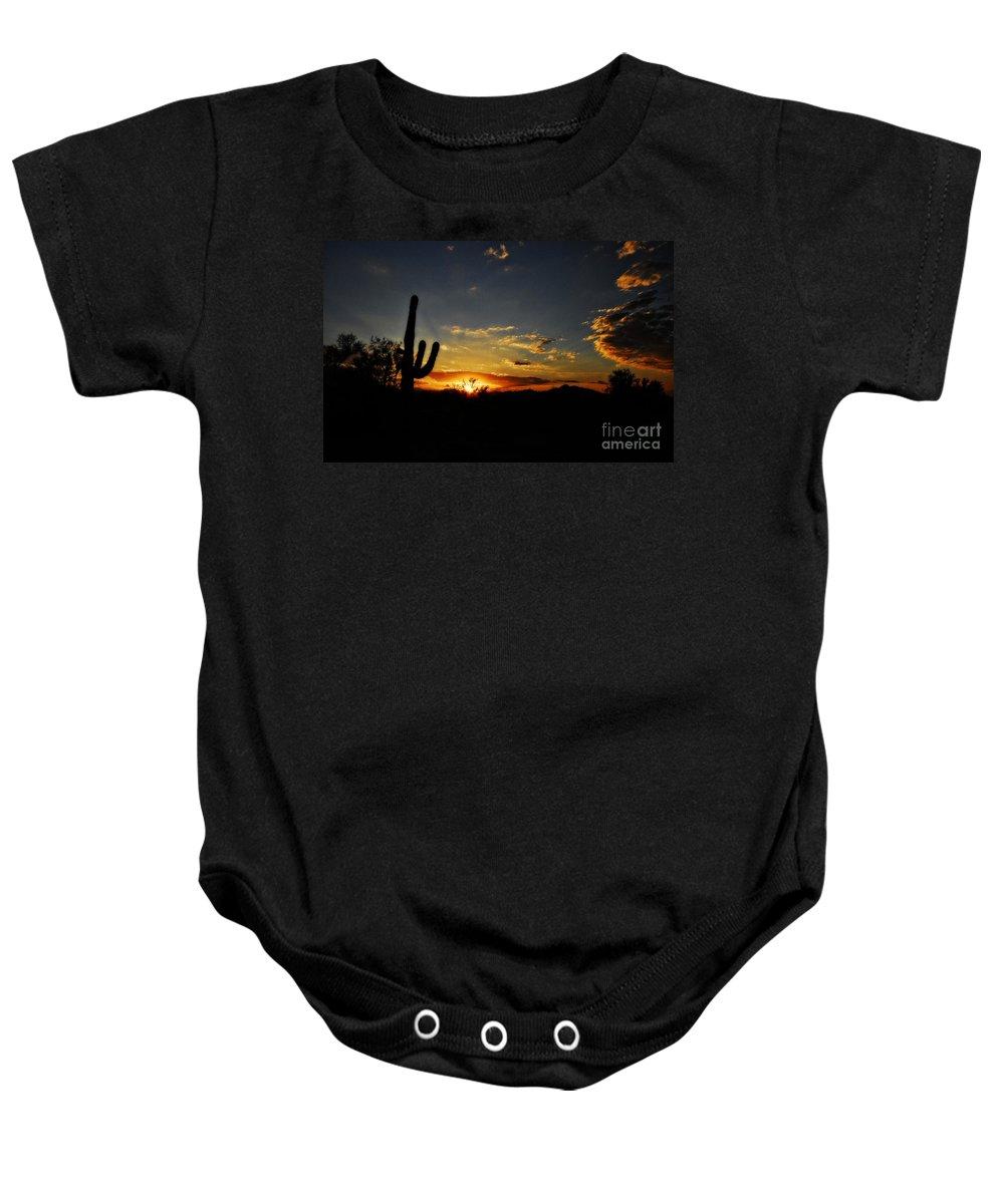 Arizona Baby Onesie featuring the photograph An Arizona Sunrise by Saija Lehtonen