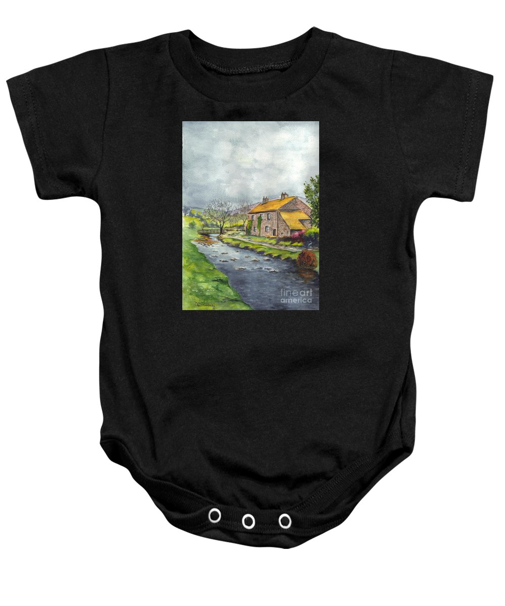 Hand Painted Baby Onesie featuring the painting An Old Stone Cottage In Great Britain by Carol Wisniewski