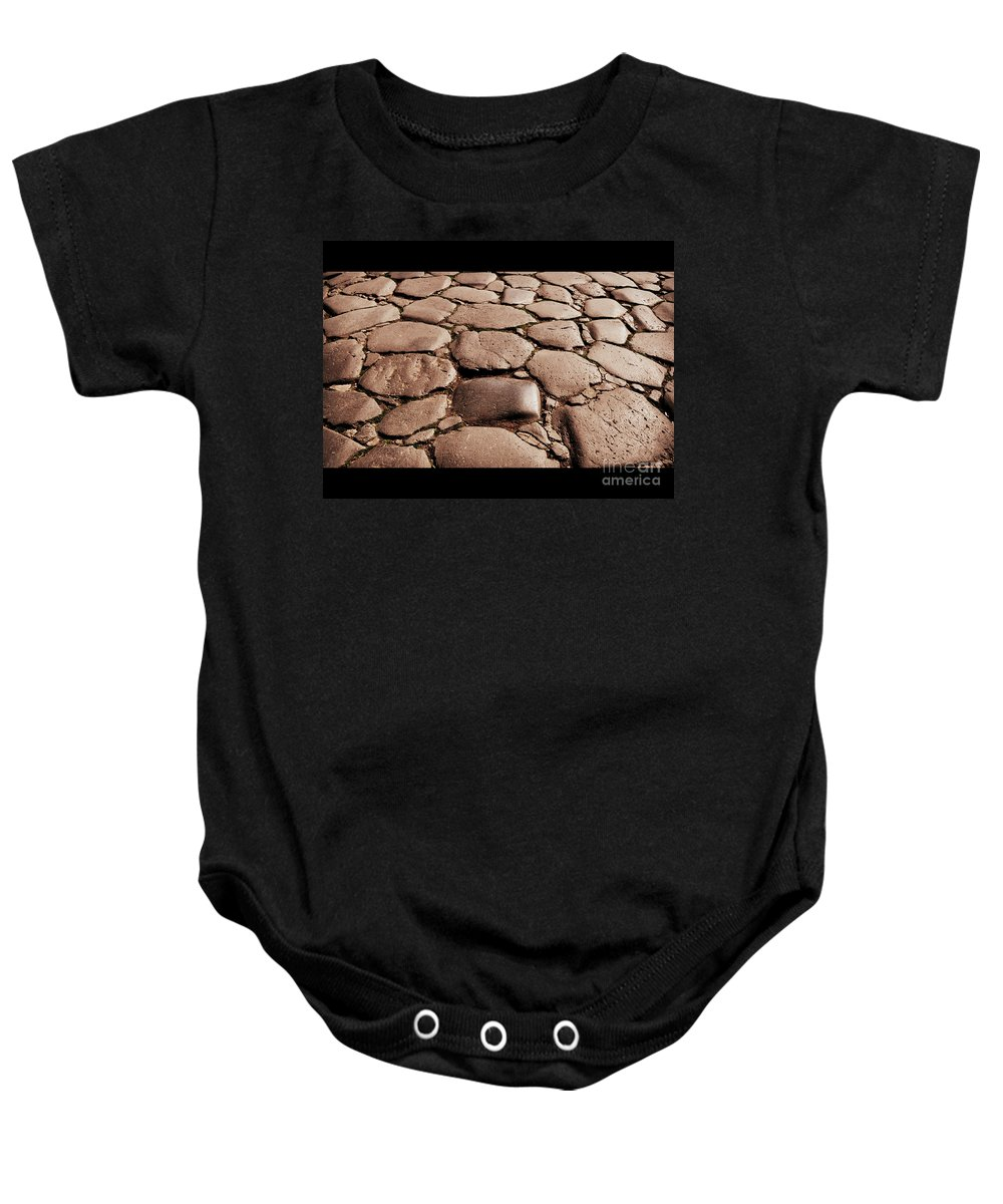Ancient Baby Onesie featuring the photograph An Original Ancient Roman Street by Eric Liller