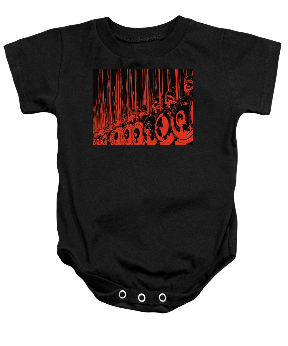 Macedonian Phalanx Baby Onesie featuring the painting Ancient Macedonian Phalanx by Andrea Mazzocchetti
