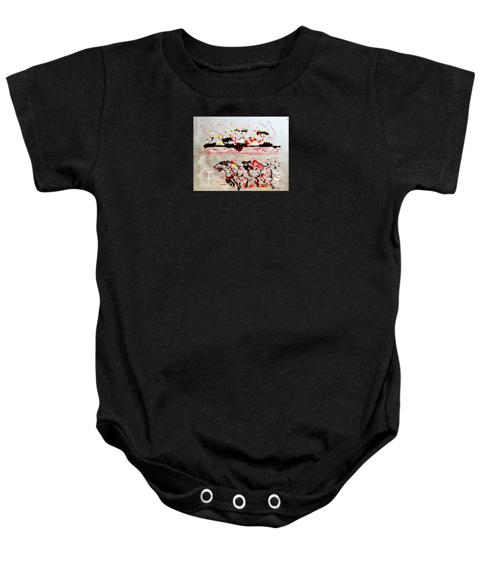 Abstract Baby Onesie featuring the mixed media And Down The Stretch They Come by J R Seymour