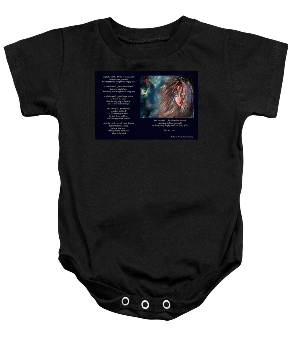 Poetry Baby Onesie featuring the mixed media And She Cried - Poetry In Art by Robin Monroe
