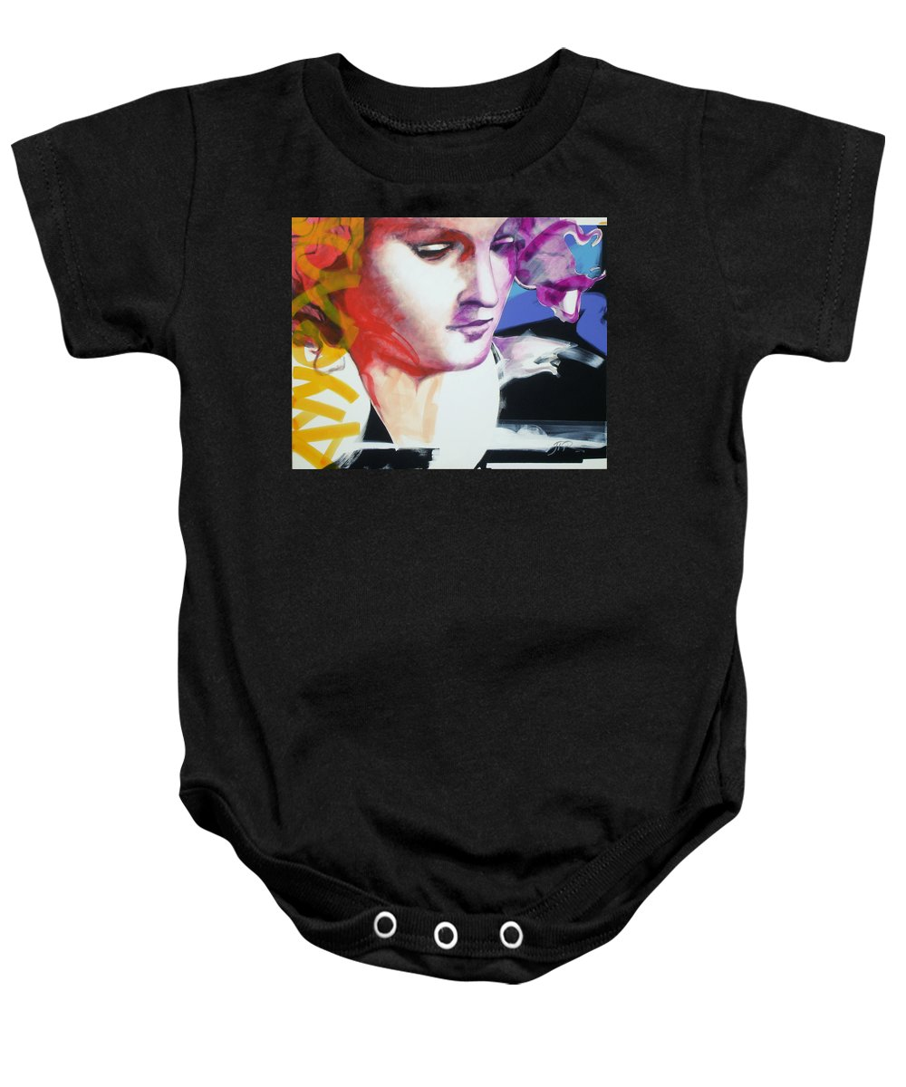 Pop Baby Onesie featuring the painting Angel by Jean Pierre Rousselet