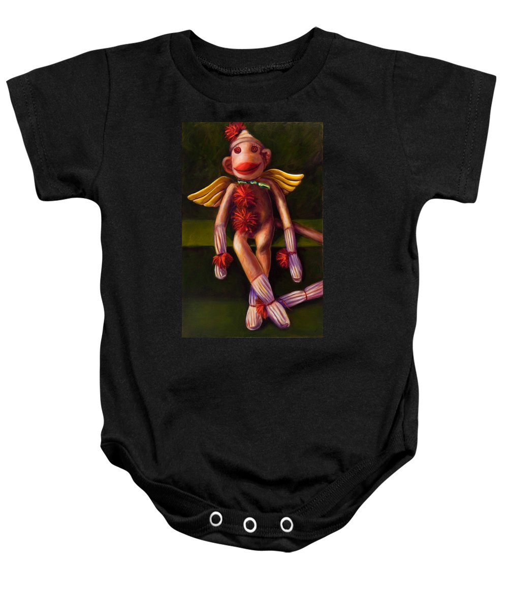Sock Monkey Angel Baby Onesie featuring the painting Angel Made Of Sockies by Shannon Grissom