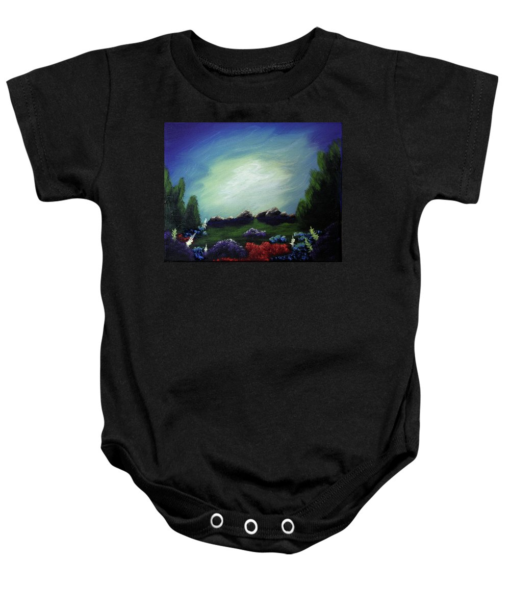 Angel Baby Onesie featuring the painting Angel On The Rocks by Dawn Blair