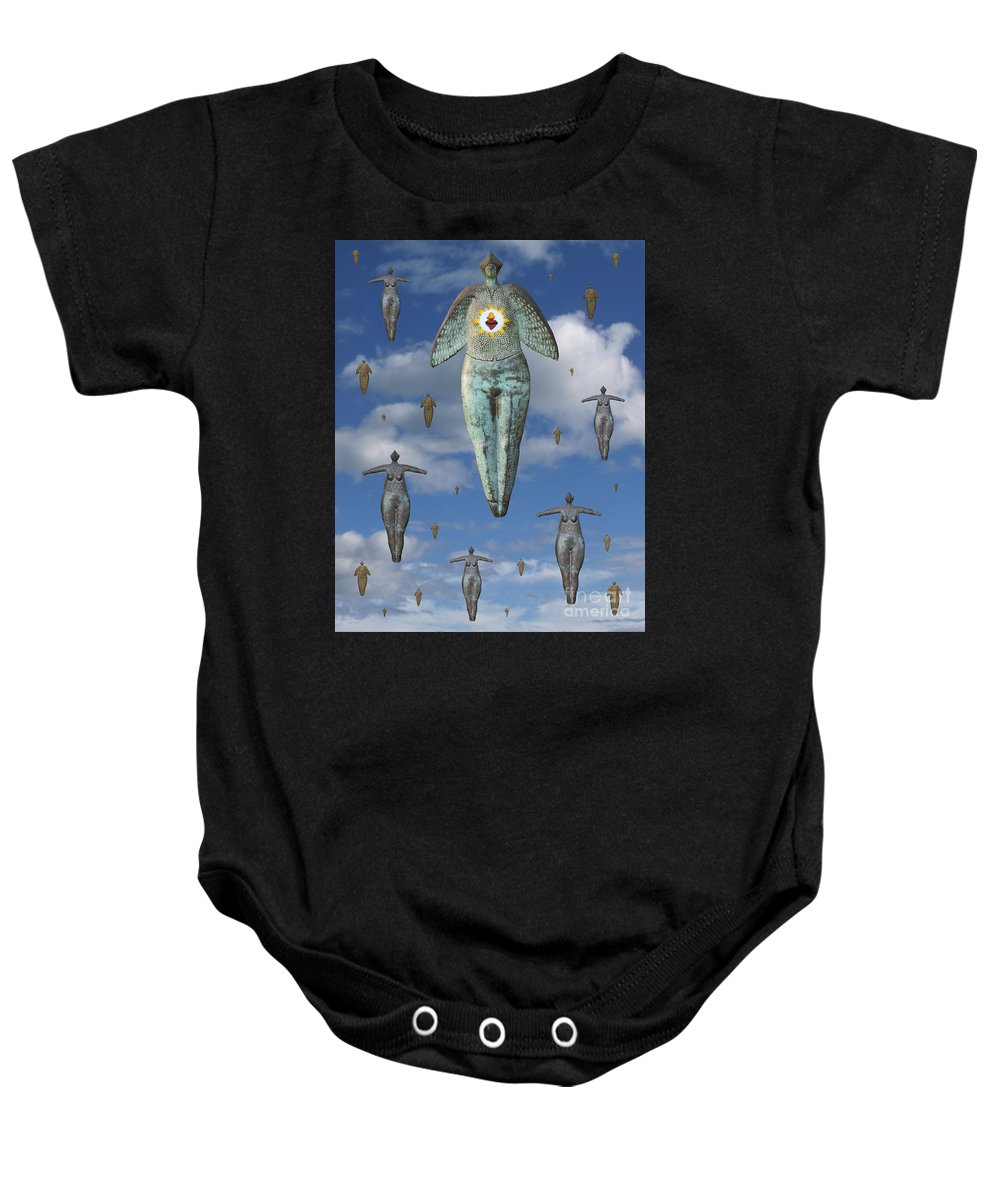 Digital Art Baby Onesie featuring the digital art Angels Of Quebec by Keith Dillon