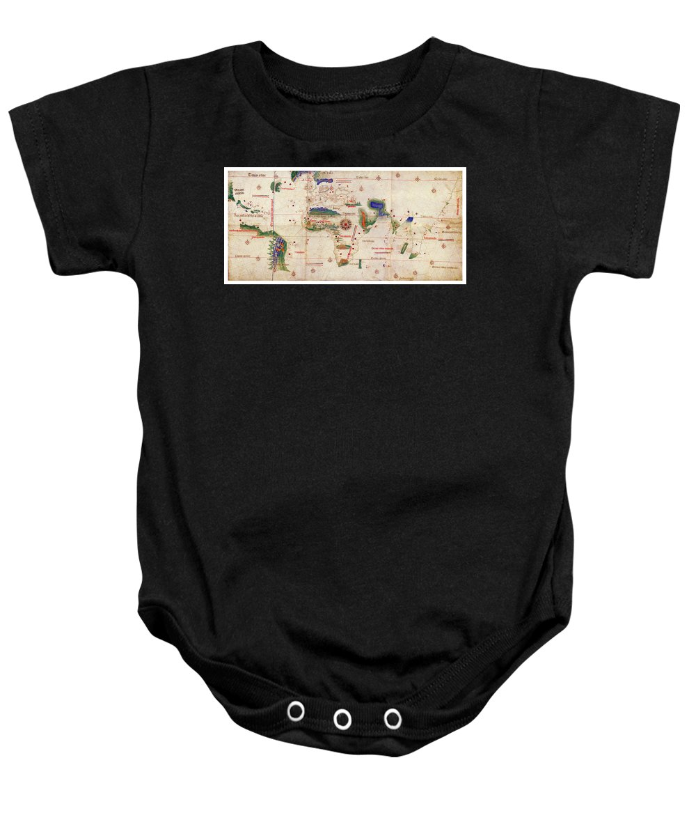 Antique Map Of The World Baby Onesie featuring the drawing Antique Maps - Old Cartographic Maps - Antique Map Of The World, 1502 by Studio Grafiikka