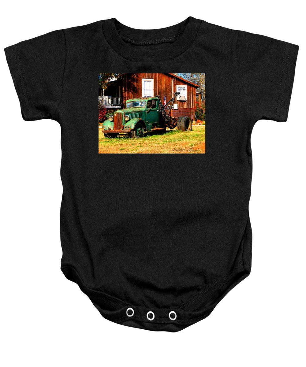 Tow Truck Baby Onesie featuring the photograph Antique Tow Truck by Barbara Bowen