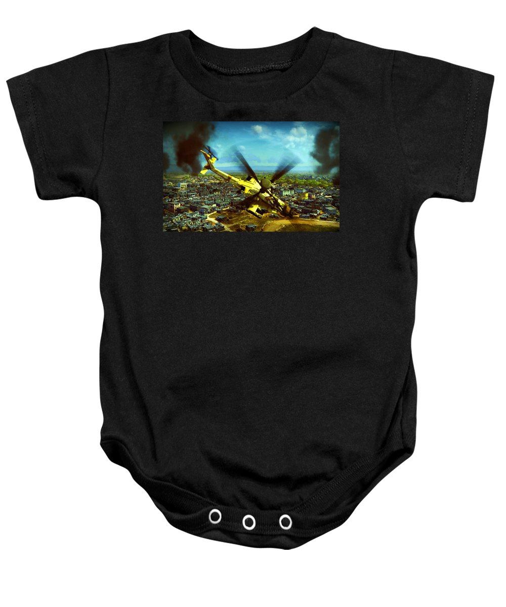 Decorative Baby Onesie featuring the digital art Apache Ai Assault - Operation Osama by Don Kuing