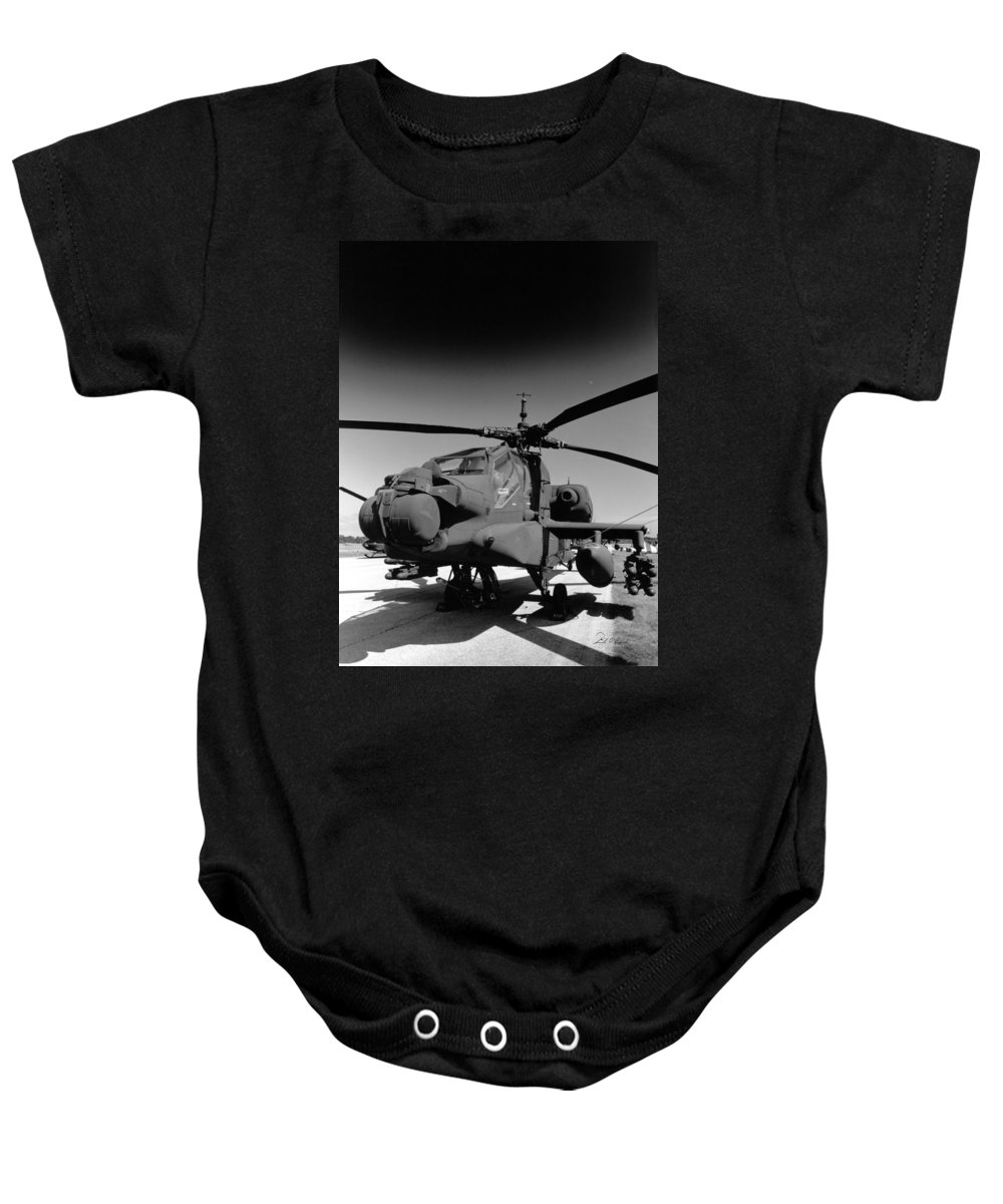 Photography Baby Onesie featuring the photograph Apache Helicopter by Frederic A Reinecke