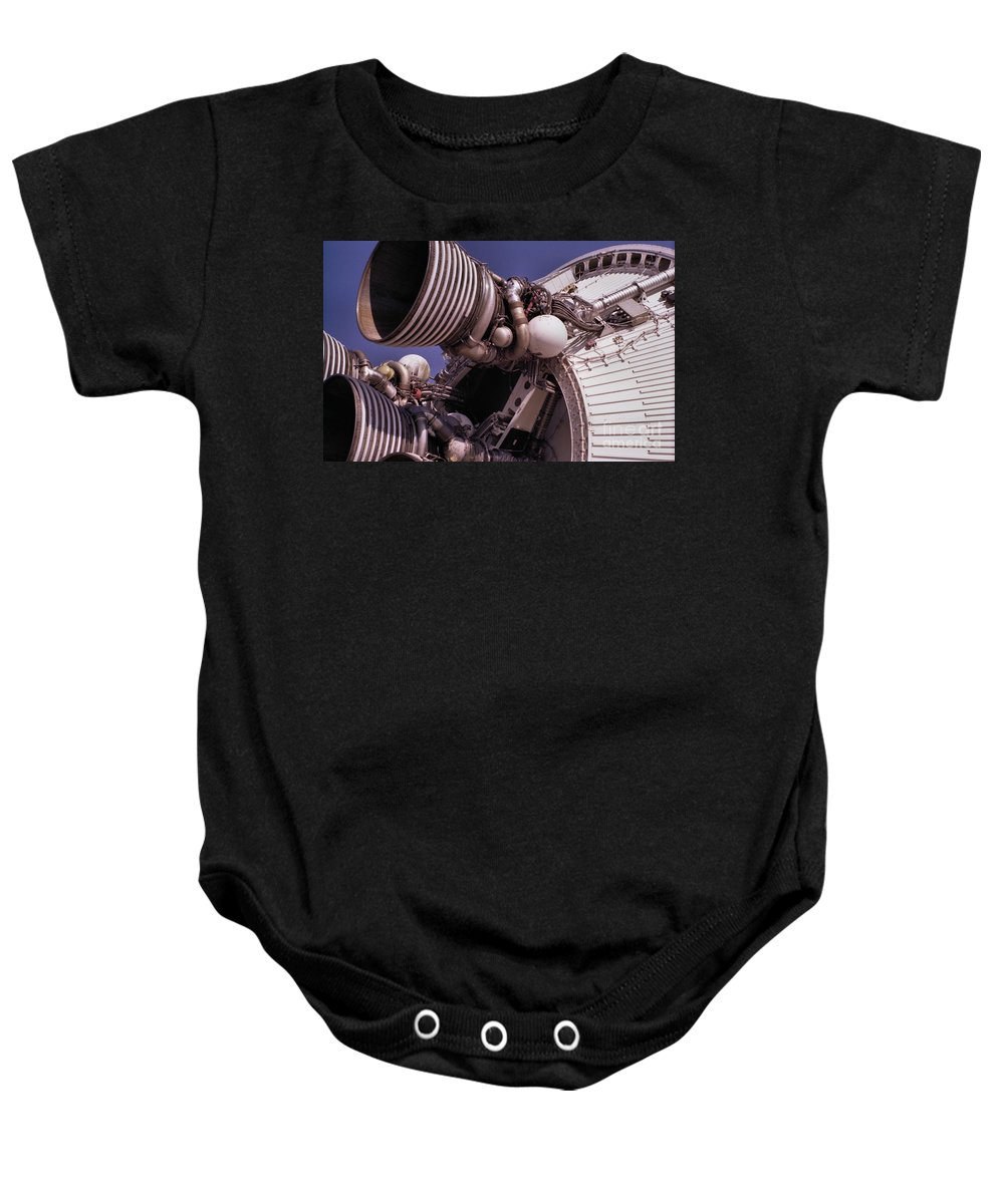 Technology Baby Onesie featuring the photograph Apollo Rocket Engine by Richard Rizzo
