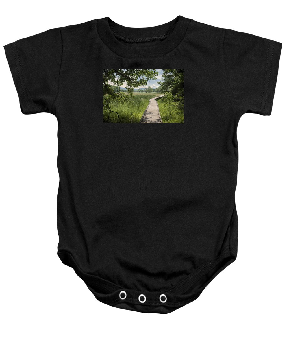 Appalachian Trail Baby Onesie featuring the photograph Appalachian Trail - Out Into The Light by John Prause
