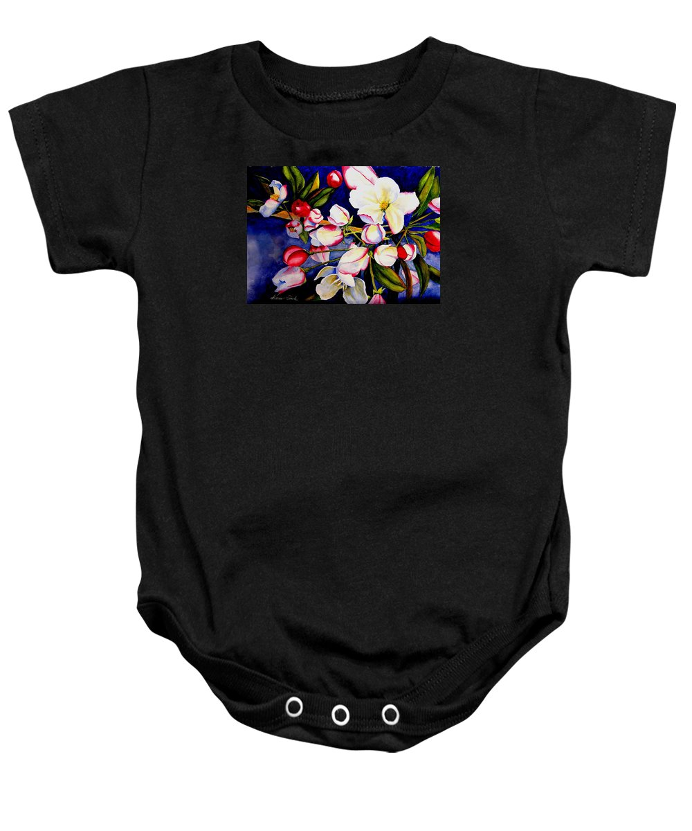 Apple Blossoms Baby Onesie featuring the painting Apple Blossom Time by Karen Stark
