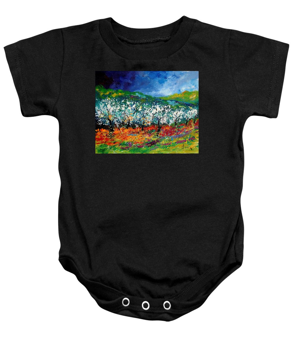 Spring Baby Onesie featuring the painting Appletrees 4509070 by Pol Ledent