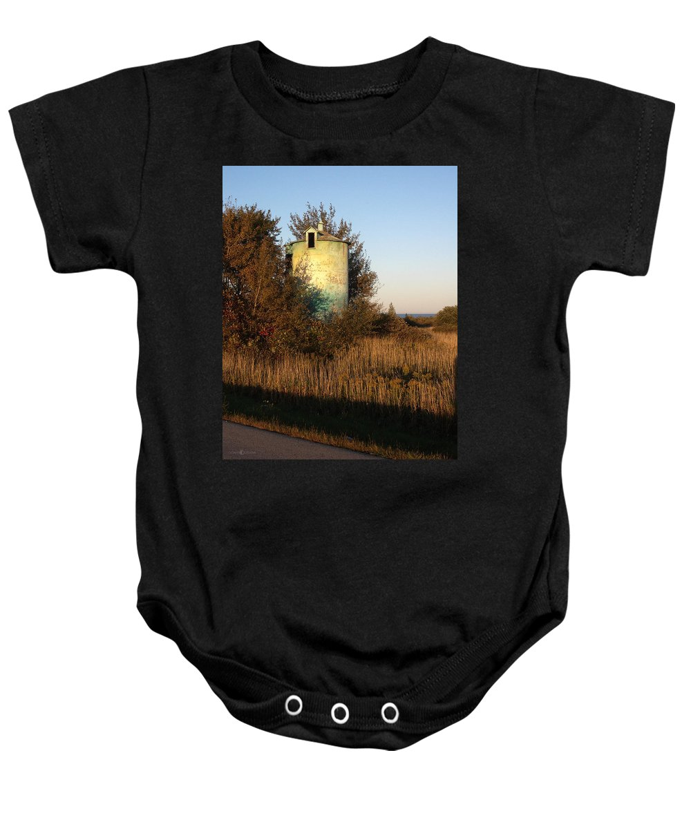 Silo Baby Onesie featuring the photograph Aqua Silo by Tim Nyberg