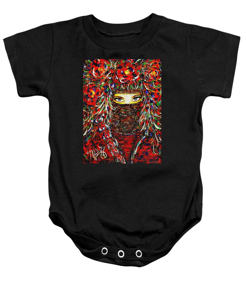 Woman Baby Onesie featuring the painting Arabian Eyes by Natalie Holland