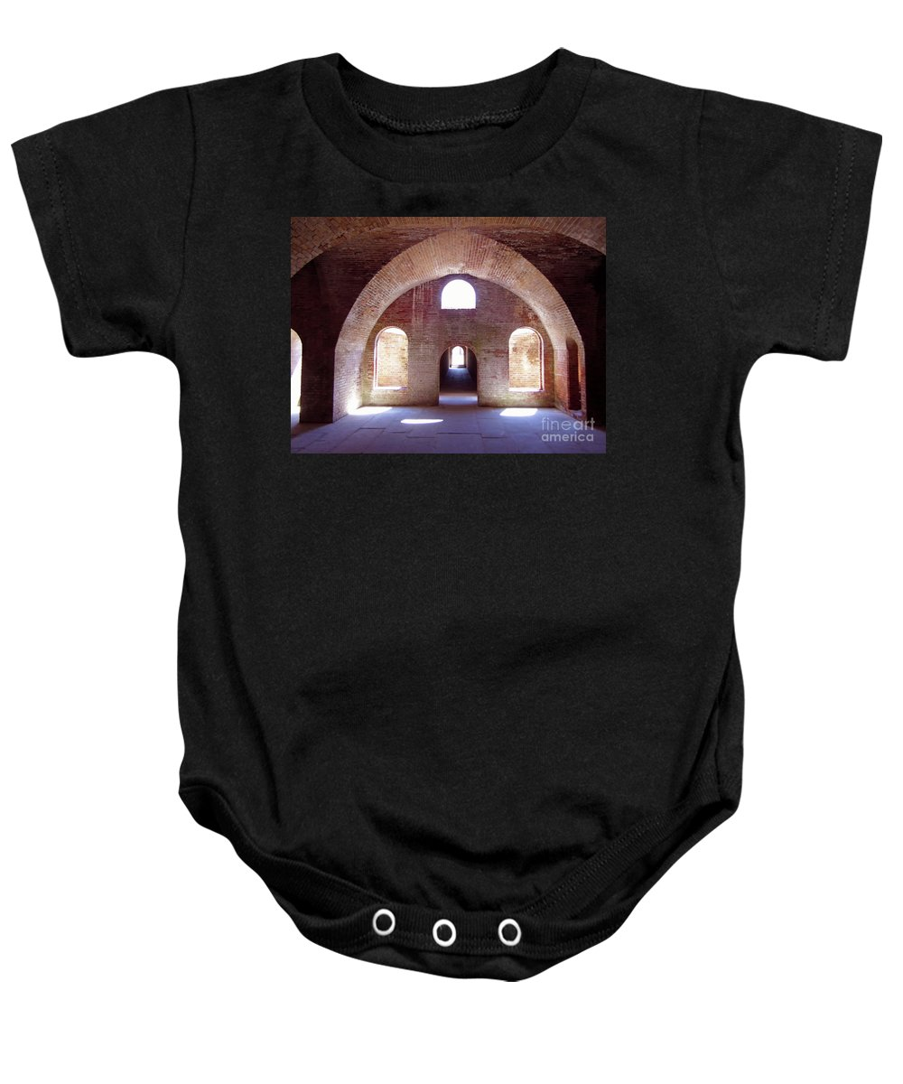 Fort Baby Onesie featuring the photograph Arches Of Sunshine by D Hackett