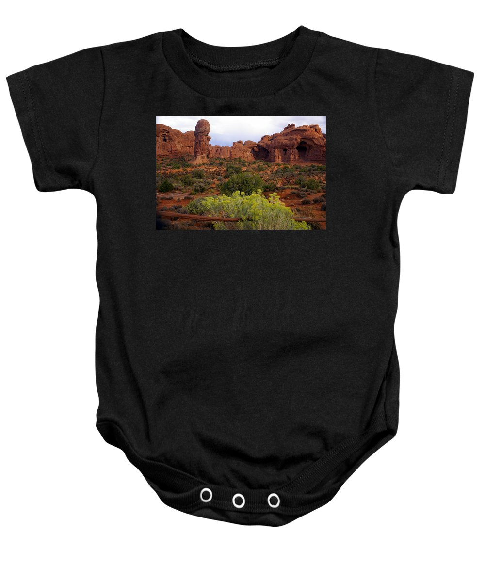 Southwest Art Baby Onesie featuring the photograph Arches Park 1 by Marty Koch