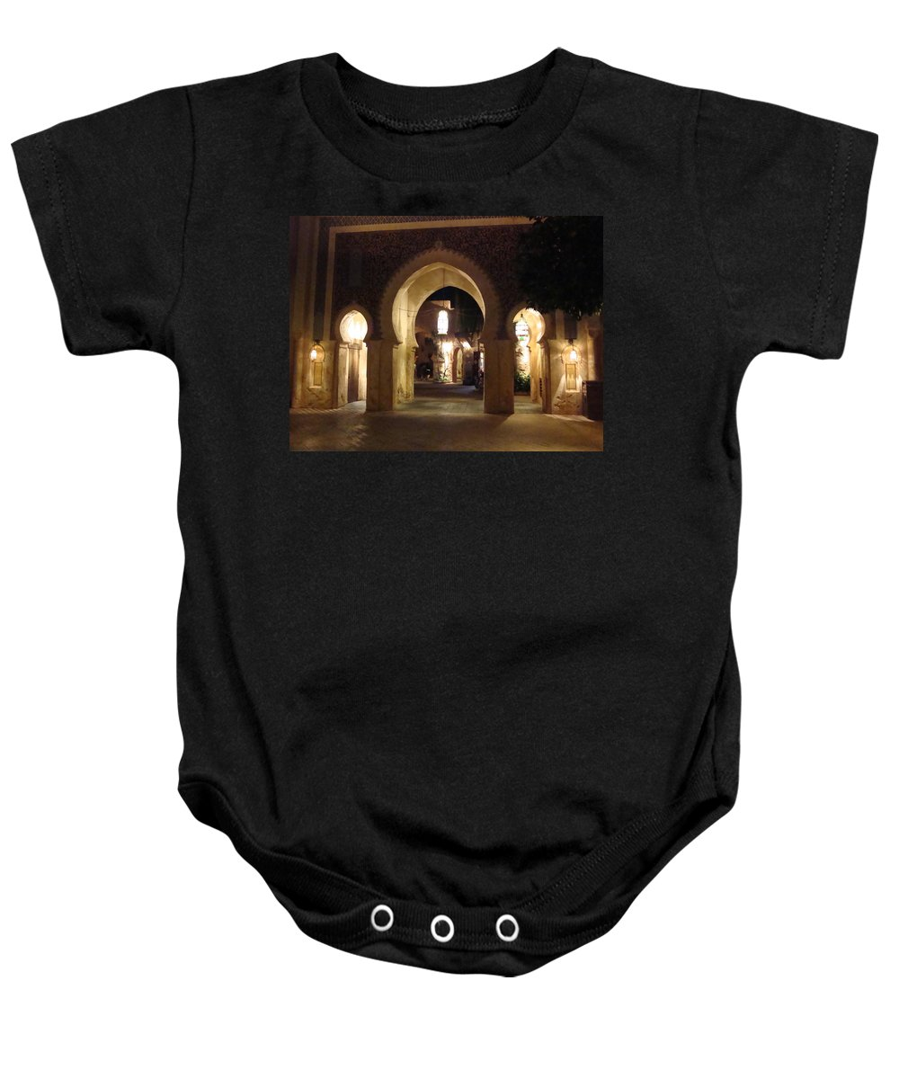 Light Baby Onesie featuring the photograph Archways At Night by Kim Chernecky