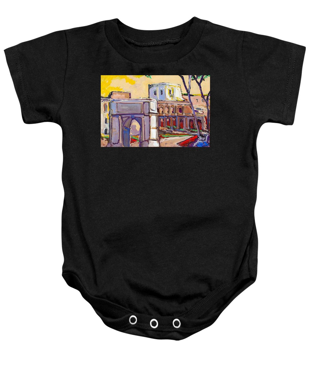 Rome Baby Onesie featuring the painting Arco Di Romano by Kurt Hausmann