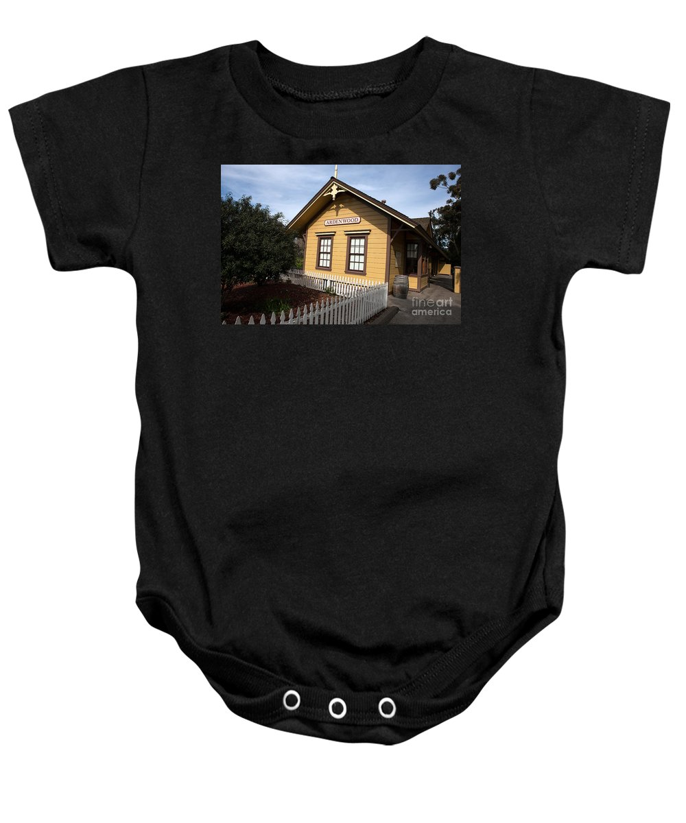 Ardenwood Historic Farm Baby Onesie featuring the photograph Ardenwood Historic Farm Railroad Station by Jason O Watson
