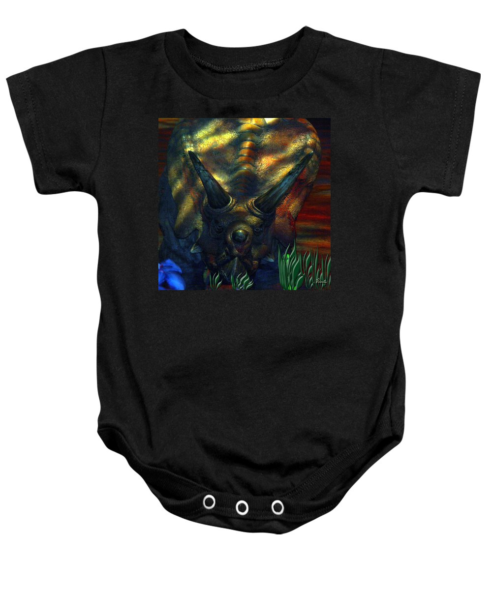 Dinosaur Armour Triceratops Extinct Dinosaurs Herbivorous Cretaceous Period Baby Onesie featuring the photograph Armour Plated by Andrea Lawrence