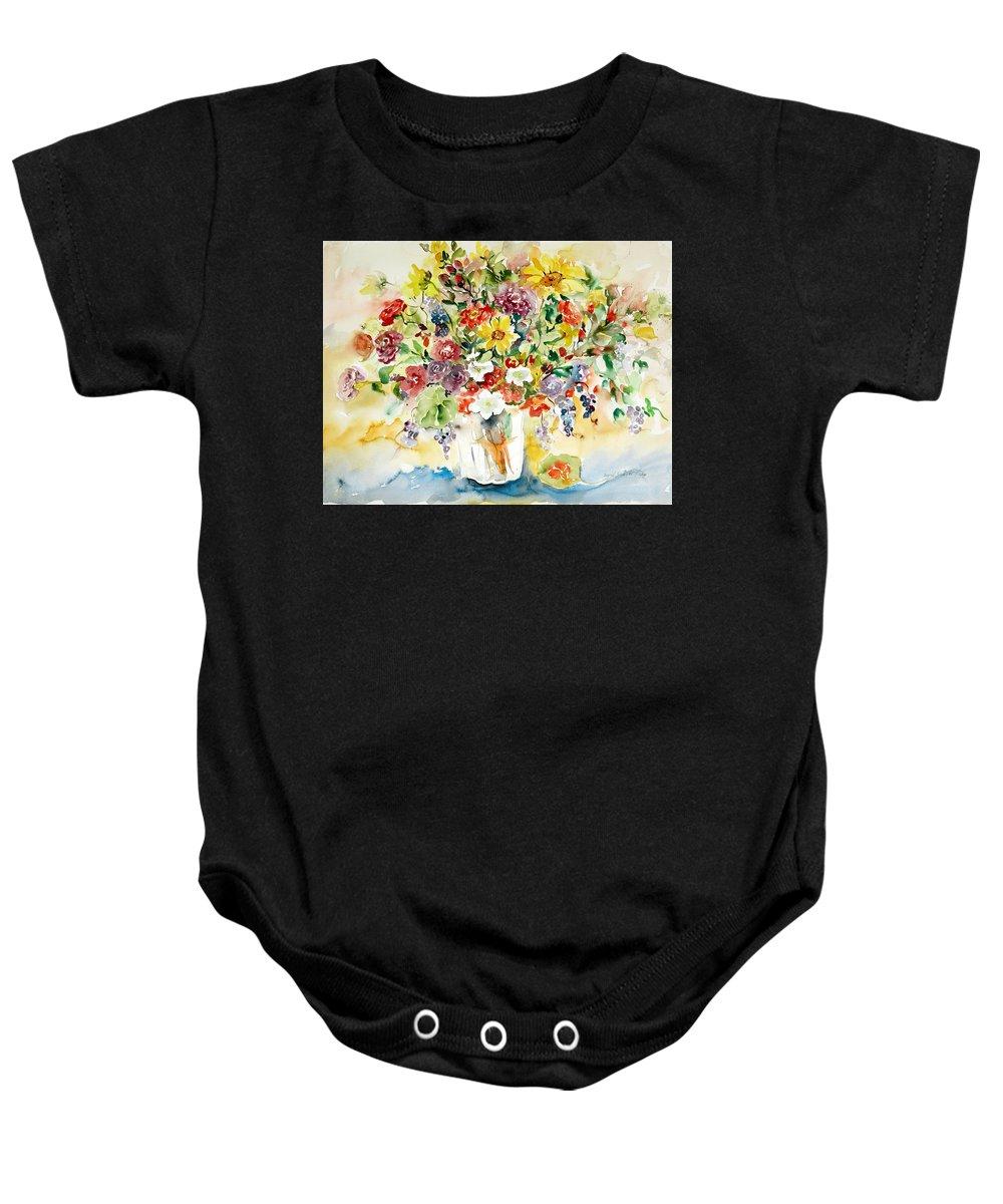 Watercolor Baby Onesie featuring the painting Arrangement IIi by Ingrid Dohm
