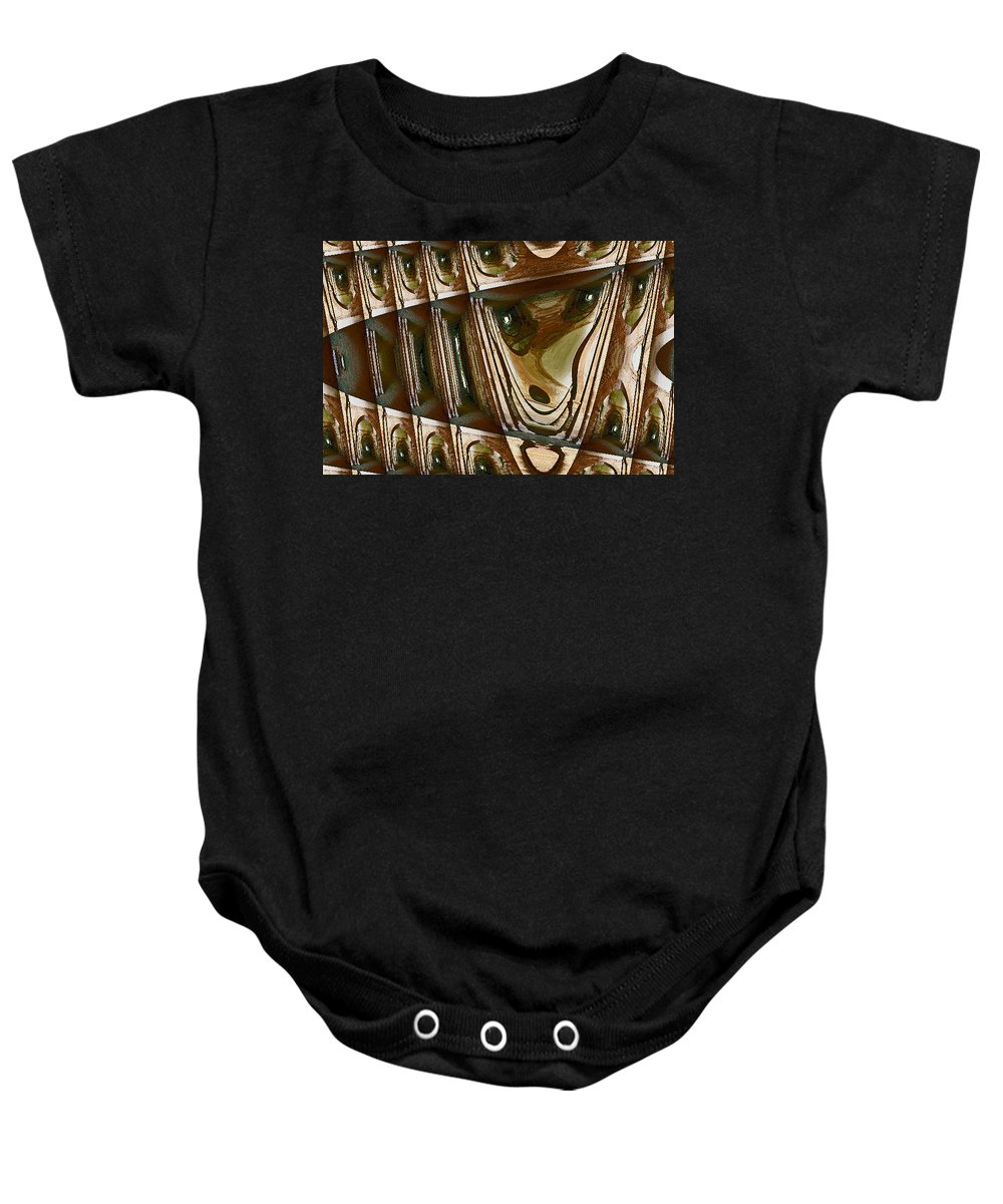 Abstract Baby Onesie featuring the digital art Arrowhead Feather by Lenore Senior