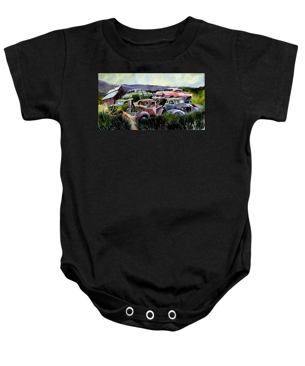 Cars Baby Onesie featuring the painting Art In The Orchard by Ron Morrison