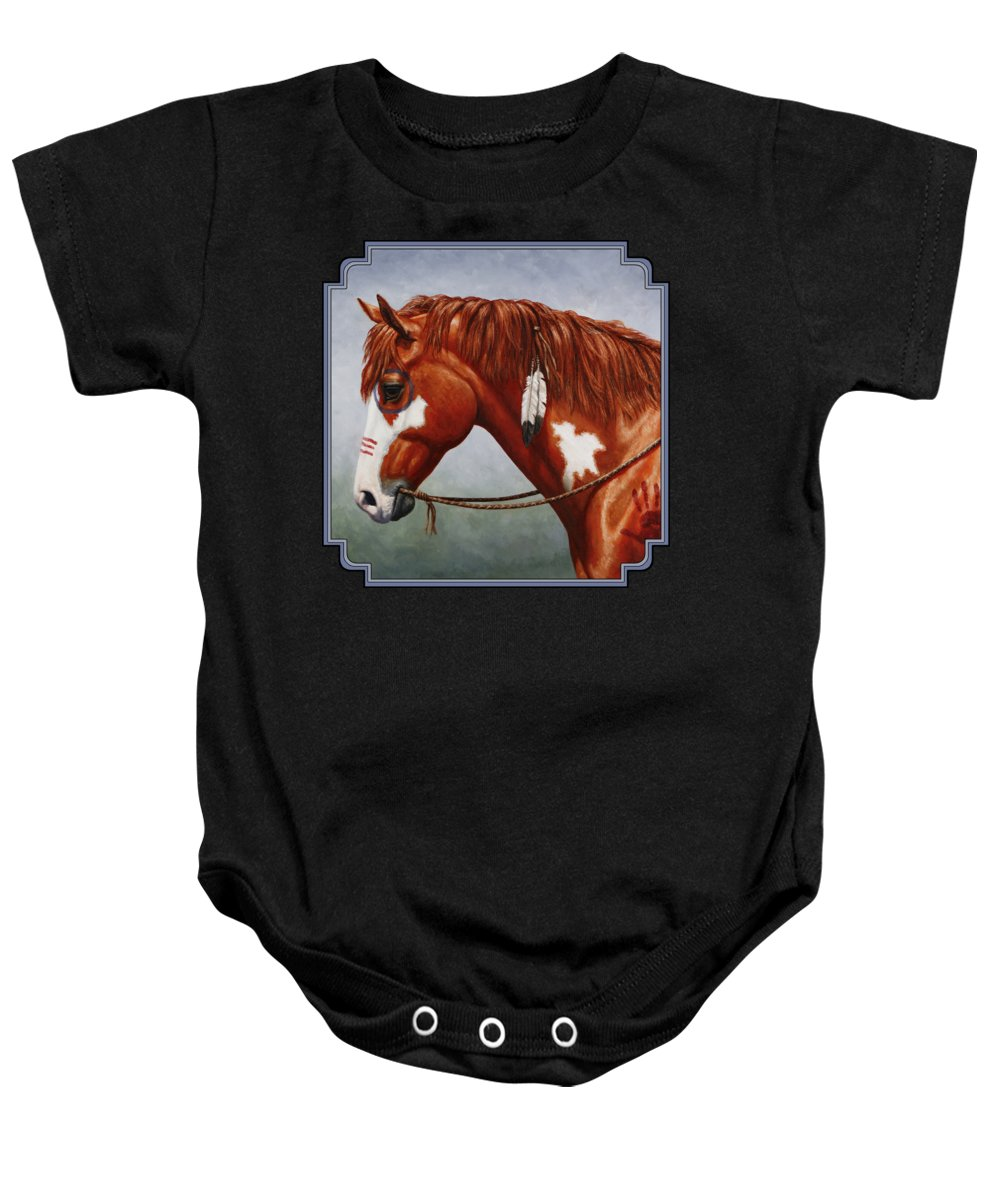 Horse Baby Onesie featuring the painting Native American War Horse by Crista Forest