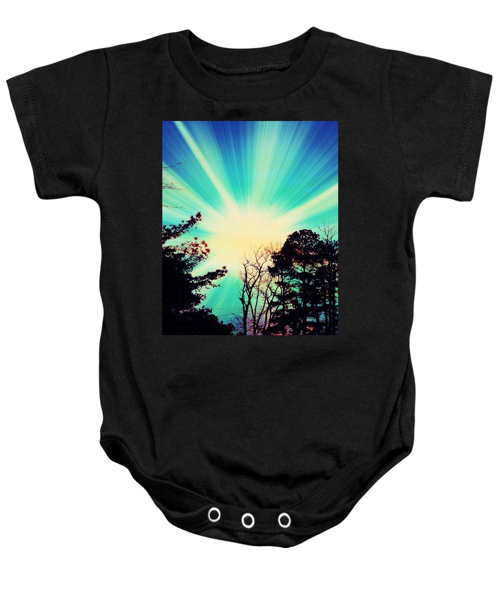 Sunrise Baby Onesie featuring the photograph Morning Glow by Johari Smith