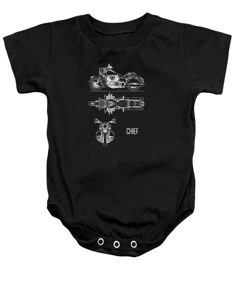 Indian Chief Baby Onesie featuring the photograph The Chief Motorcycle Blueprint by Mark Rogan